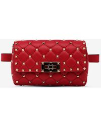 Valentino Rockstud Spike Calfskin Belt Bag - Red