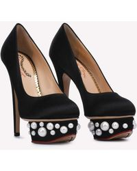 Charlotte Olympia Pearl Dolly 140 Platform Court Shoes - Black