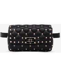 Valentino Rockstud Spike Calfskin Belt Bag - Black