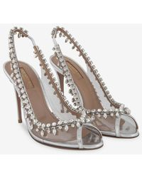 Aquazzura Temptation 105 Leather Crystal Sandals - Metallic
