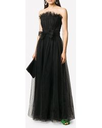 Philosophy Di Lorenzo Serafini Polka Dot Strapless Tulle Dress With Bow - Black