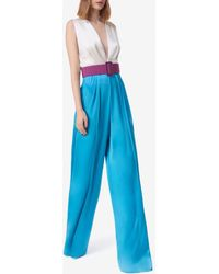Costarellos Keaton Belted Color-block Satin Jumpsuit - Blue