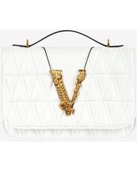 Versace Small Virtus Quilted Leather Top Handle Bag - White