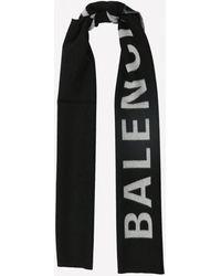 Balenciaga Wool Scarf In Jacquard Knit - Black
