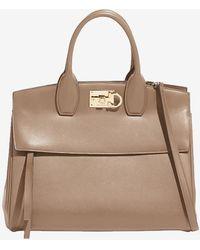 Ferragamo Small Studio Calfskin Top Handle Bag With Gancini Buckle - Brown
