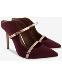 Malone Souliers Maureen 100 Satin Mule Pumps - Red