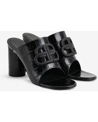 Balenciaga Oval Bb Mule Sandals In Croc-print Matte Calfskin - Black