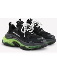 Balenciaga Triple S Clear Sole Sneakers In Leather And Mesh - Black