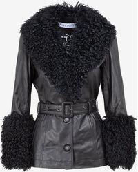 Saks Potts Shearling Belted Jacket In Lamb Leather It 42 - Black