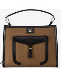 Tom Ford Canvas T-twist Medium Top Handle Bag - Multicolour