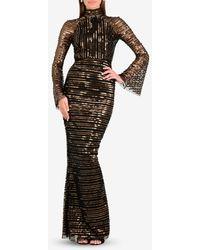 Rachel Gilbert Tuulia Sequined High Neck Gown - Black