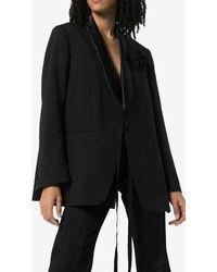 MM6 by Maison Martin Margiela Wrap-around Blazer Jacket With Corsage Detail - Black