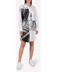 Bimba Y Lola Big Palm Print Shirt Dress Wrtwstd_s - White