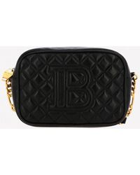 Balmain Mini B-camera Quilted Laminated Crossbody Leather Bag - Black