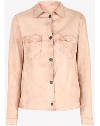 Salvatore Santoro Long-sleeved Leather Shirt Wrtwit_it 44 - Pink