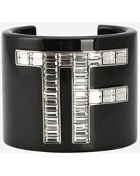 Tom Ford Crystal Logo Cuff Bracelet - Black