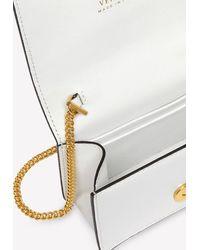 Versace Mini Virtus Jungle Print Chain Clutch In Leather - Metallic