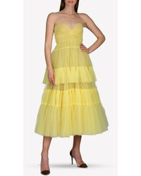 J. Mendel Tulle Strapless Tiered Midi Dress Wrtwus_us 8 - Yellow