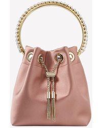 Jimmy Choo Small Bon Bon Satin Crystal-embellished Detail Bucket Bag - Pink