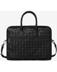 Bottega Veneta Medium Intrecciato Briefcase In Calfskin - Black