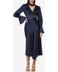 Acler Darlington Silk Draped Midi Skirt Uk 8 - Blue