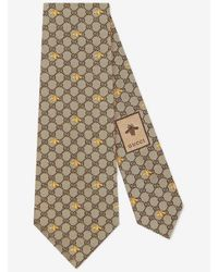 Gucci Silk Tie With GG And Bees Print - Natural