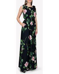 Dolce & Gabbana Floral-print Cotton Jumpsuit - Black