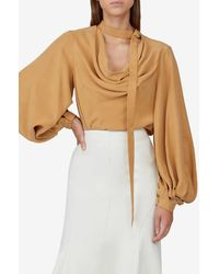 Acler Daleside Balloon-sleeved Crepe Blouse Uk 8 - Natural