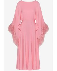 Valentino - Feather Embroidered Georgette Midi Dress Wrtwit_it 42 - Lyst