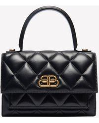 Balenciaga Xs Sharp Satchel Shoulder Bag In Quilted Nappa Calfskin - Black