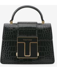 Tom Ford Mini 001 Top Handle Bag In Croc-embossed Leather Onesize - Black