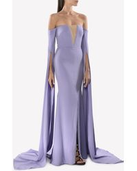 Alex Perry The Alex Satin Crepe Strapless Crinoline Long Sleeve Gown - Purple