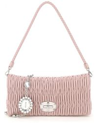 Miu Miu - Quilted Crystal Cloqué Clutch In Nappa Leather Onesize - Lyst