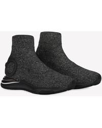 Ferragamo Gancini Shimmery Stretch-knit Sock-fit Sneakers - Black