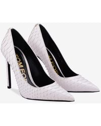 Tom Ford Python Leather Pointed Court Shoes - 105 Mm - White