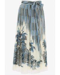 Dior Palms Print Pleated Cotton Midi Skirt Wrtwfr_fr 38 - Blue