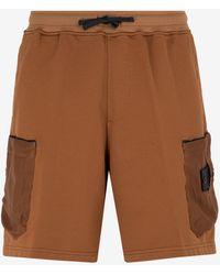 Stone Island Shadow Project Nylon Cargo Shorts With Drawstring Waist S - Brown