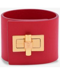 Tom Ford Leather Wide Turnlock Cuff Bracelet - Red