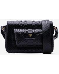 Tom Ford Hollywood T-twist Shoulder Bag In Python Leather - Black