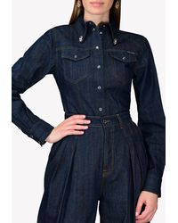 Dolce & Gabbana Denim Shirt With Crystal Brooch Wrtwit_it 44 - Blue