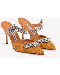 Manolo Blahnik Lurum Lace 90 Court Shoes With Crystal-embellished Detail - Orange