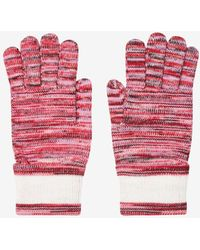 Missoni Striped Knit Gloves In Wool S - Red