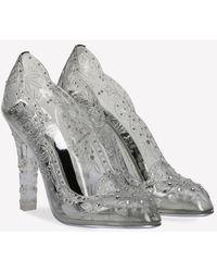 Dolce & Gabbana Cinderella 105 Crystal-embellished Pvc Court Shoes - Grey