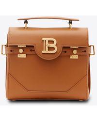 Balmain B-buzz 23 Tote Bag In Leather - Brown