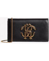 Roberto Cavalli Small Mirror Snake Shoulder Bag In Calf Leather - Black