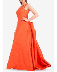 Viktor & Rolf Beaded Evening Gown With Back Bow - Orange