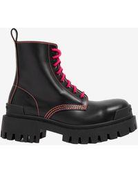 Balenciaga Strike Lace-up Lug Boots In Calfskin - Black