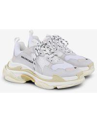 Balenciaga Triple S Trainers In Mesh And Leather - White