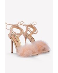 Charlotte Olympia Salsa 110 Ostrich Feather Tie-up Sandals - Pink