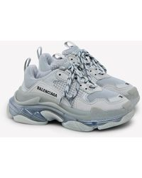 Balenciaga Triple S Clear Sole Trainers In Mesh-leather And Nubuck - Grey